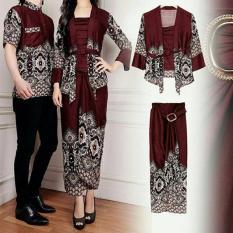 legiONshop-busana batik  dress pasangan  dress couple  baju batik couple MAULANA brown