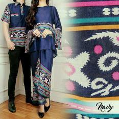 Harga Legionshop Busana Batik Dress Pasangan Dress Couple Baju Batik Couple Yanti Navy Lengkap