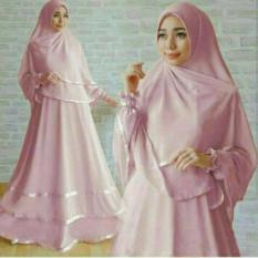 Harga Legionshop Busana Muslim Dress Maxi 2 In 1 Syarinora Bergo Pink Satu Set