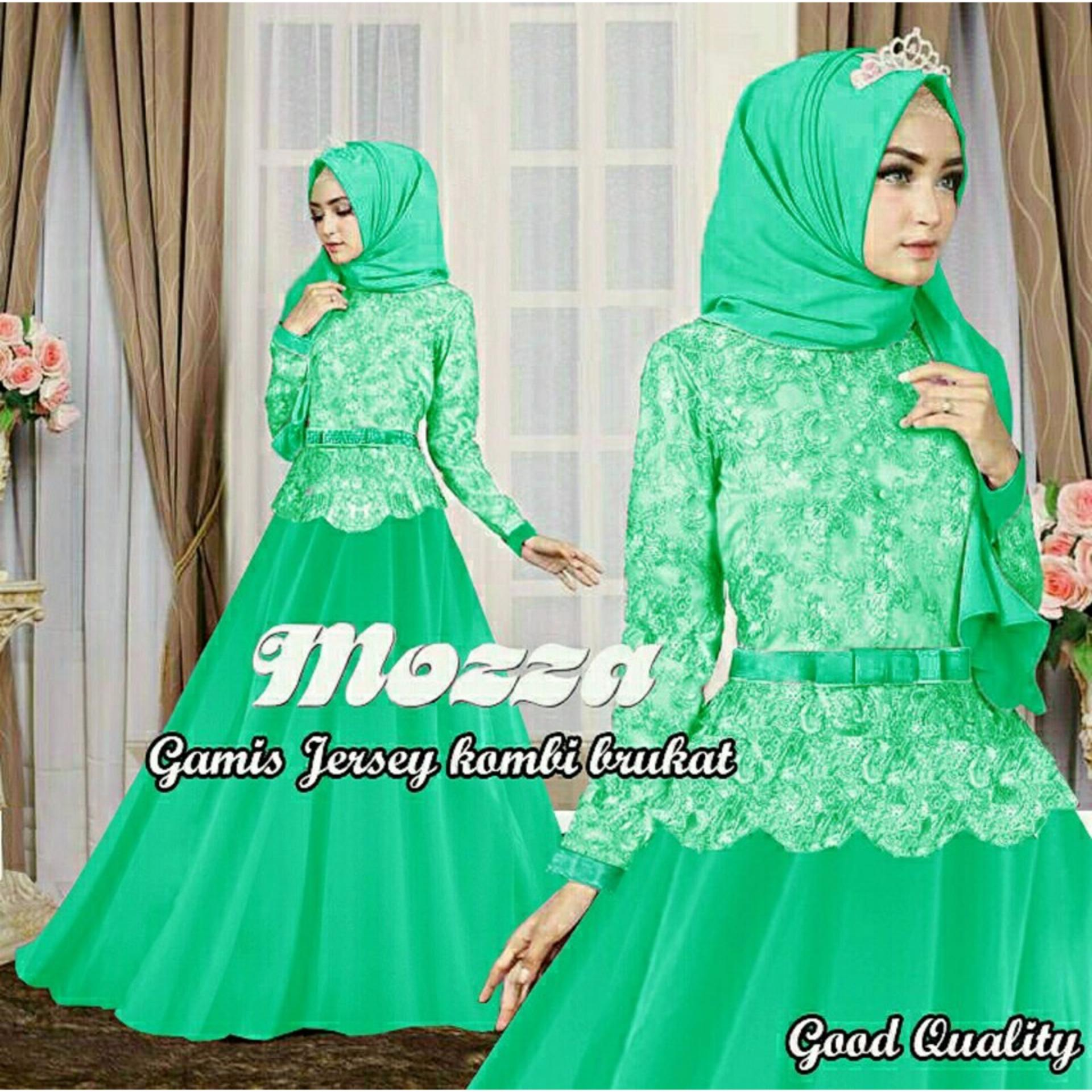 legiONshop- busana muslim muslim wear gamis hijab dress maxi 2 in 1 MOZZA BRUKAT green