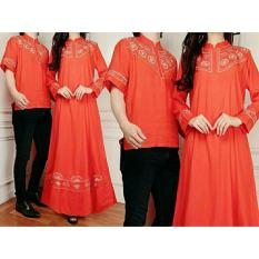 legiONshop-busana pasangan maxi  dress pasangan  dress couple  baju couple BORDIANA orange