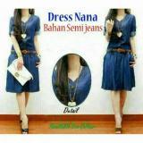 Harga Legionshop Dress Wanita Semi Jeans Nana Free Belt Dark Blue Yang Murah Dan Bagus