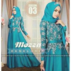 Review Legionshop Hijab Busana Muslim Dress Maxi 2 In 1 Mozza Brukat Turquise Di Dki Jakarta