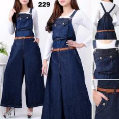 Spesifikasi Legionshop Jumpsuit Jeans Wanita Jumpsuit Wanita Jeans Wanita Laurisa Dark Blue 3In1 Bagus