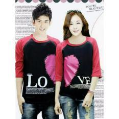 legiONshop-Kaos pasangan  baju couple  baju trend  kaos couple LOVE VALENTINE black maroon