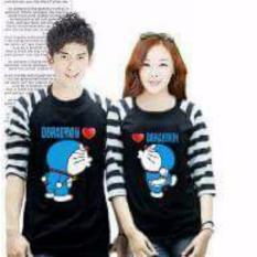 Legionshop Kaos Pasangan T Shirt Couple Doramonmon Kiss Black Dki Jakarta