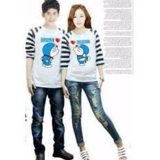 Promo Legionshop Kaos Pasangan T Shirt Couple Doramonmon Kiss White Murah