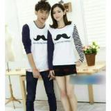 Harga Legionshop Kaos Pasangan T Shirt Couple Mustache White Yang Bagus