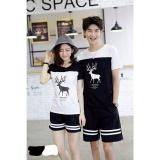 Spesifikasi Legionshop Kaos Pasangan T Shirt Couple Rusa Kutub Lengan Pendek Black White Lengkap Dengan Harga