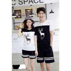 Review Terbaik Legionshop Kaos Pasangan T Shirt Couple Rusa Kutub Lengan Pendek Black White