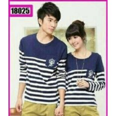 Spesifikasi Legionshop Kaos Pasangan T Shirt Couple Salur Sailor Jangkar Navy Yang Bagus