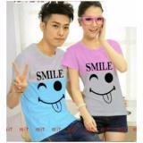 Diskon Besarlegionshop Kaos Pasangan T Shirt Couple Smile Lengan Pendek Pink Turkis