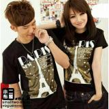 Obral Legionshop Kaos Pasangan T Shirt Couple New Paris Gold Foil Black Murah