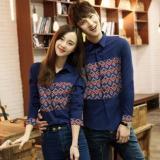 Harga Legionshop Kemaja Pasangan Kemeja Couple Motif Songket Asli Navy Asli