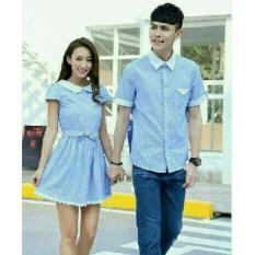 Review Legionshop Kemeja Dress Pasangan Couple Dress Gadizha Blue Sky Terbaru