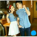 Toko Legionshop Kemeja Dress Pasangan Couple Dress Polkadot Denim Blue White Terdekat
