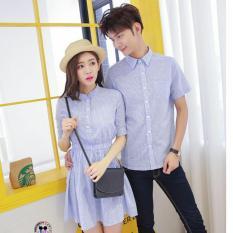 Miliki Segera Legionshop Kemeja Dress Pasangan Couple Dress Syanghai Salur Blue Soft