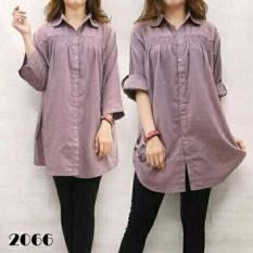 legiONshop-kemeja jumbo wanita  baju ukuran besar  big size  pakaian wanita SELVIAN DENIM purple soft
