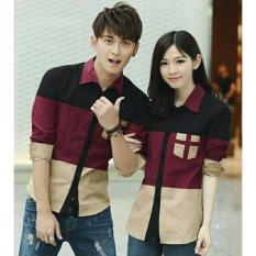 Harga Legionshop Kemeja Pasangan Baju Pasangan Kemeja Couple Couple Shirt Atasan Murah Baju Couple Avery 3Tone Black Maroon Cream Seken