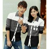 Review Legionshop Kemeja Pasangan Couple Shirt Atasan Murah Baju Couple Avery 3 Tone White Grey Black Terbaru