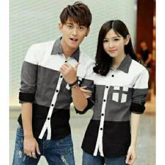 Spesifikasi Legionshop Kemeja Pasangan Couple Shirt Atasan Murah Baju Couple Avery 3 Tone White Grey Black Beserta Harganya