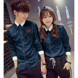 Beli Legionshop Kemeja Pasangan Couple Shirt Atasan Murah Baju Couple Love Navy Kredit