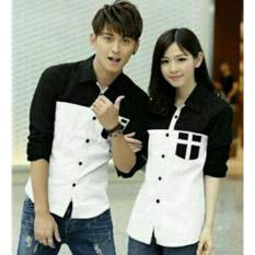 Harga Legionshop Kemeja Pasangan Couple Shirt Avery White Black Baru