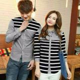 Promo Legionshop Kemeja Pasangan Couple Shirt Line Line Grey Murah