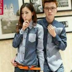 Legionshop Kemeja Pasangan Couple Shirt Volca Com Denim Blue Indonesia
