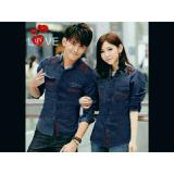 Beli Legionshop Kemeja Pasangan Couple Shirt Lovelis Denim Navy