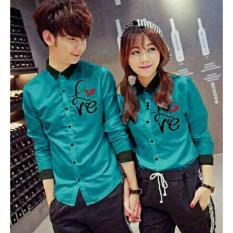 Miliki Segera Legionshop Kemeja Pasangan Couple Shirt Atasan Murah Baju Couple Love Harga Sudah 2 Kemeja