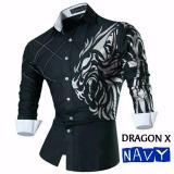 Harga Legionshop Kemeja Pria Kemeja Casual Baju Murah Atasan Trendy Dragon X Navy Origin