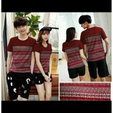 Spesifikasi Legionshop Stelan Atasan Celana Kaos Pasangan T Shirt Couple Batik Zig Maroon Black Yg Baik