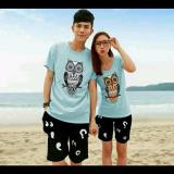 Harga Legionshop Stelan Atasan Celana Kaos Pasangan T Shirt Couple Owl Blue Soft Lengkap