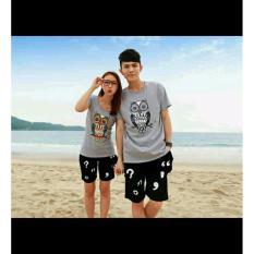 Jual Beli Legionshop Stelan Atasan Celana Kaos Pasangan T Shirt Couple Owl Misty Black Dki Jakarta