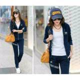 Harga Legionshop Stelan Wanita Baju Wanita Baju Sport Wanita Jaket Celana Ad Stripe Navy Paling Murah