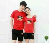 Spesifikasi Legionshop Stelan Atasan Celana Kaos Pasangan T Shirt Couple Frank Paul Red Black Murah