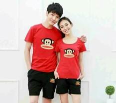 Harga Legionshop Stelan Atasan Celana Kaos Pasangan T Shirt Couple Frank Paul Red Black Yang Bagus