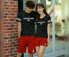 Spesifikasi Legionshop Stelan Atasan Celana Kaos Pasangan T Shirt Couple Team Paris Black Red Yg Baik