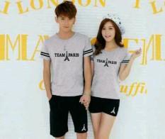 Cara Beli Legionshop Stelan Atasan Celana Kaos Pasangan T Shirt Couple Team Paris Misty Black