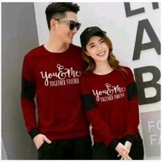 legiONshop-sweater pasangan  atasan couple  baju pasangan  baju couple  sweater couple YOU N ME FOREVER maroon