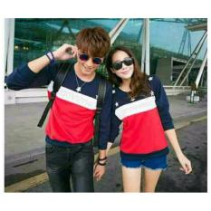 Model Legionshop Sweater Pasangan Sweater Couple Bintang Navy Putih Merah Terbaru