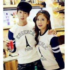 Promo Legionshop Sweater Pasangan Sweater Couple Essence Paris White Legionshop