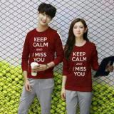 Spesifikasi Legionshop Sweater Pasangan Sweater Couple Keep Calm And I Miss You Maroon Dan Harganya