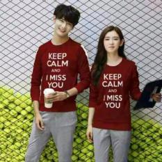 Harga Legionshop Sweater Pasangan Sweater Couple Keep Calm And I Miss You Maroon Murah