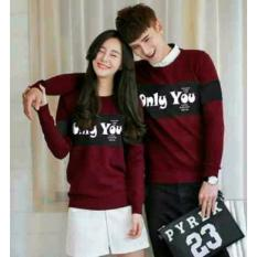 Harga Legionshop Sweater Pasangan Sweater Couple Only You Maroon Yang Bagus
