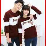 Harga Legionshop Sweater Pasangan Sweater Couple Pusple Maroon White Terbaru