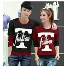 Legionshop Sweater Pasangan Sweater Couple T Fashion Black Maroon Promo Beli 1 Gratis 1