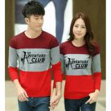 Jual Legionshop Sweater Pasangan Sweater Couple The Adventure Club Maroon Grey Red Import