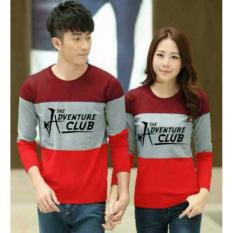 Jual Legionshop Sweater Pasangan Sweater Couple The Adventure Club Maroon Grey Red Grosir